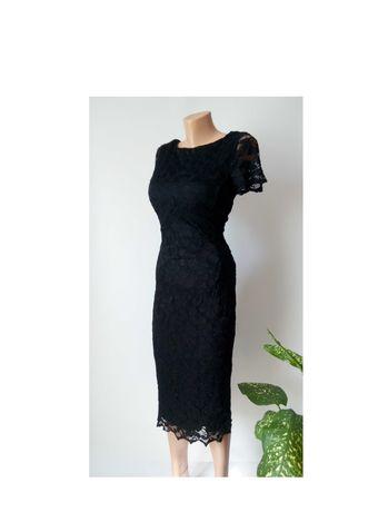 Платье 48 46 размер гипюровое черное кружевное миди вечернее футляр