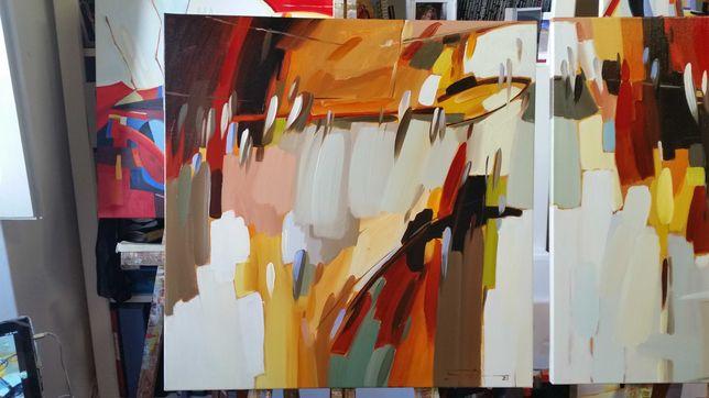 """Quadro  """"Abstracto  """" óleo sobre tela, dimensões 60×60cm."""