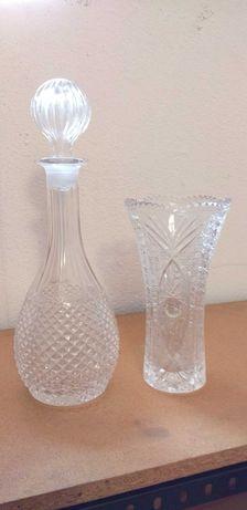 Peças de cristal jarra e garrafa de licor