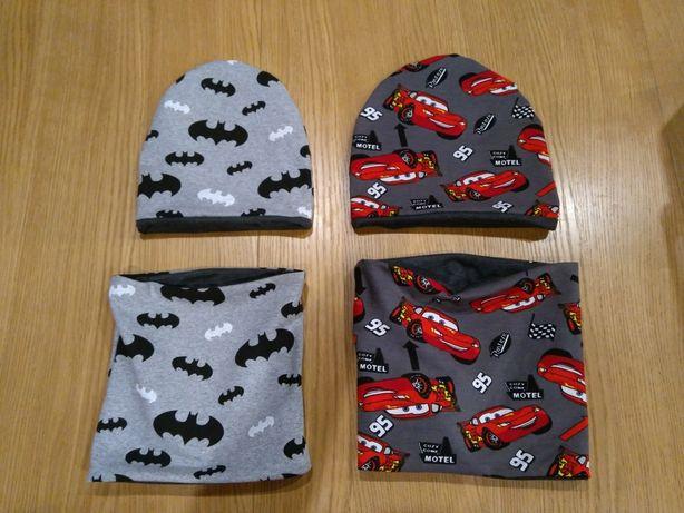 Komplet dwustronny, czapka+komin lub apaszka, Batman, zygzak McQueen