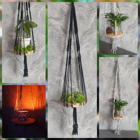 Makrama kwietnik ze sznurka  wiszący plaster brzozy