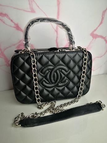 Torba Chanel kuferek czarny skórzana nowa premium