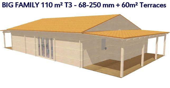 BIG FAMILY 164 m² T3 - 110,5 + 53, 5 m² terraço - Casa de Madeira T3