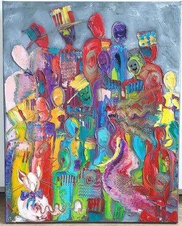LUDZIKI obraz olejny 40x50 KatarzynaArt