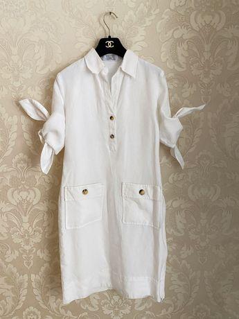 Carolina Herrera оригинал Италия белое льняное платье