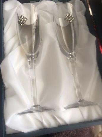 Сводебные бокалы для шампанского CHINELLI Италия с камнями Swarovski