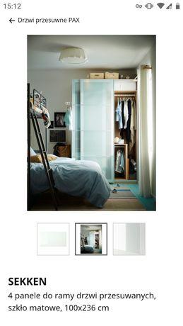 Ikea PAX panele SEKKEN szkło matowe hartowane