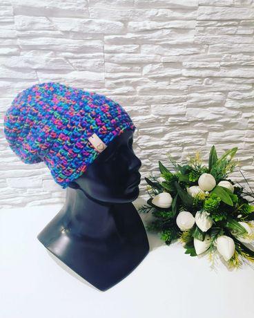 Czapka kolorowa beanie ręcznie robiona, rękodzieło handmade