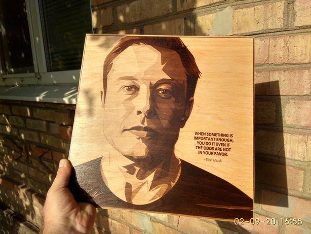Илон Маск Еlon Musk пирография картина