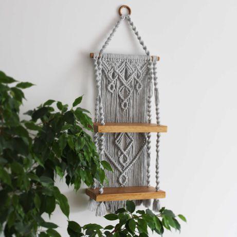 półka podwójna ze sznurka makrama boho kwietnik
