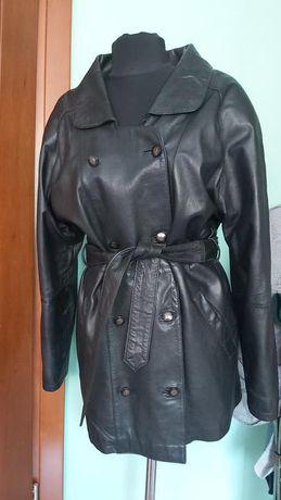Куртка кожаная удлененнная 48рр с поясом идеал