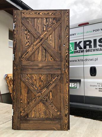 Drzwi zewnętrzne lite drewniane szczotkowane olejowane od ręki