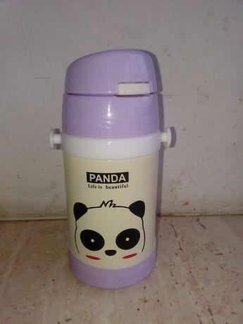 Детский термос-поилка STENSON Animal 250 ml Панда фиолетовая