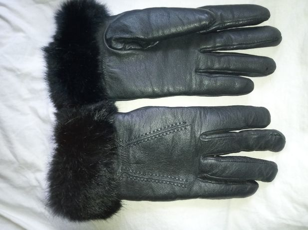 Damskie skórzane rękawiczki z futerkiem naturalnym S