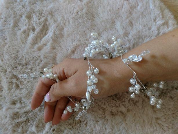 Ozdoba ślubna włosy cyrkonie perełki