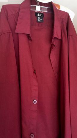 Męska młodzieżowa koszula bordowa H&M jak nowa M Wesele wizytowa