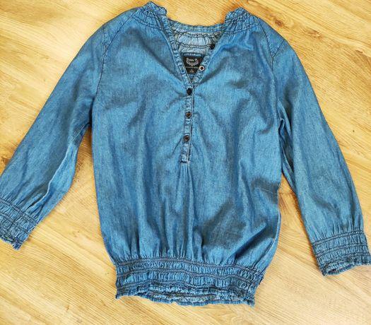 Bluzka a la jeans, niebieska ze ściągaczami, rękaw 3/4. Wysyłka 1 zł