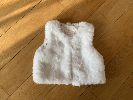 H&m белый меховой укороченный жилет для девочки 12-18 месяцев