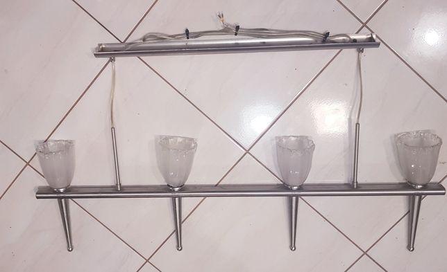 Żyrandol potrójny oświetlenie sufitowe lampa chromowana srebrny