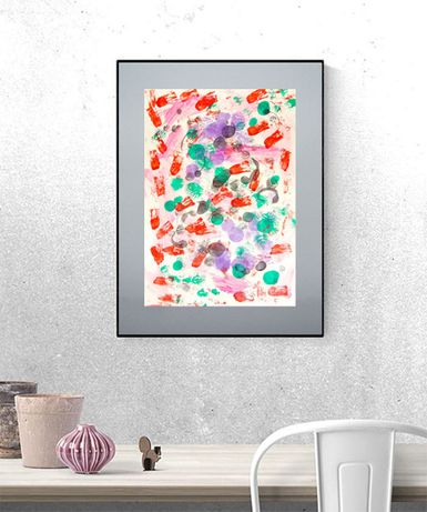 nowoczesna grafika, abstrakcja malowana ręcznie, dekoracja na ścianę