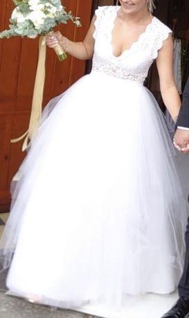 Suknia ślubna tiulowa, spódnica tiulowa, body koronkowe, roz. M