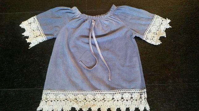 Śliczna tunika bluzka krótki rękaw 104/110 cm