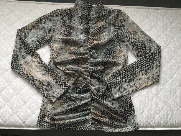 Bluzka półgolf crop top wężowy wzór snake wąż marszczona nowa S/M