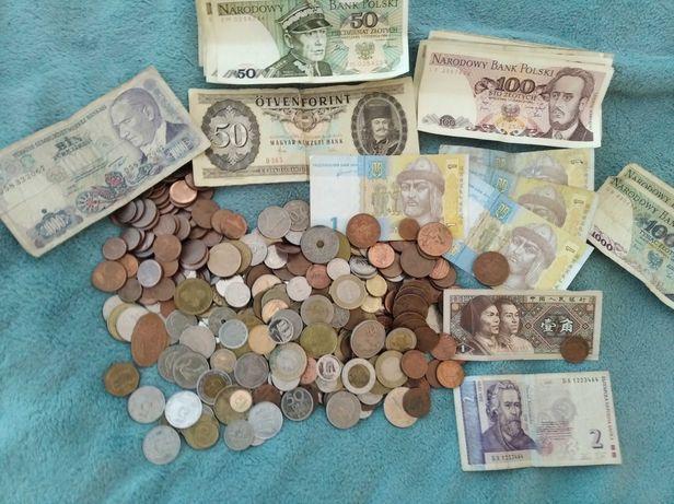 Mix monet zagranicznych euro,funty,forinty i banknoty