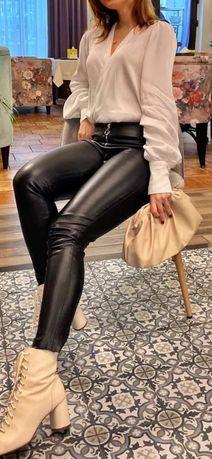 Zara, штаны из эко кожи, р.S