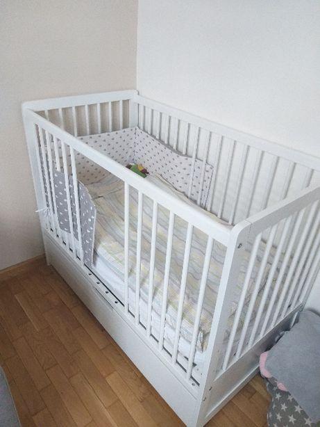 łóżeczko z szufladą białe drewniane