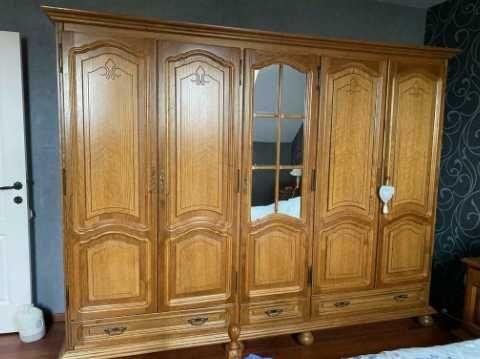 Sypialnia Dębowa, szafa, łóżko, komoda, lustro, stelaż, ...