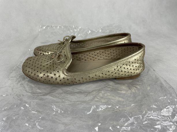Kazar 36 pantofle złote azurowe baletki buty skora 100%