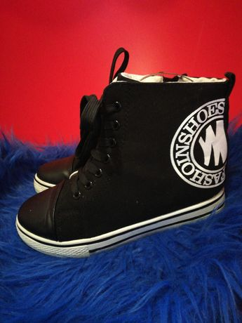 Trampki buty czarne na koturnie rozm 40