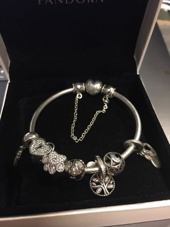Pandora Bransoletka Srebrna + charmsy 7 szt + zabezpieczenie