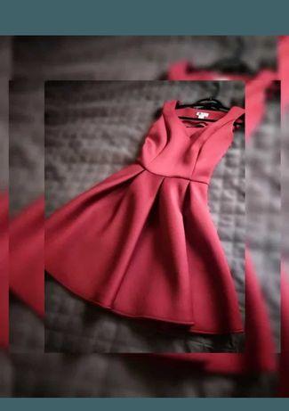 Sukienka bordowa elegancka S