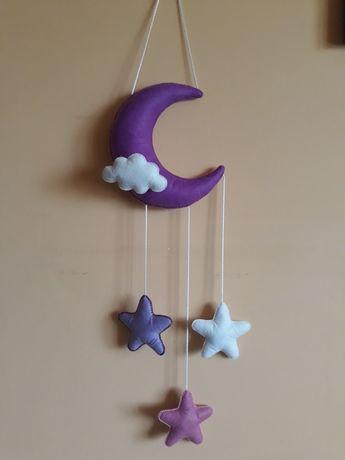 Girlanda nad łóżeczko dekoracja dziecięca zawieszka księżyc gwiadki