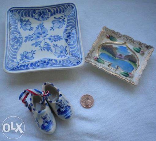 3 Peças em porcelana, 2 Delft