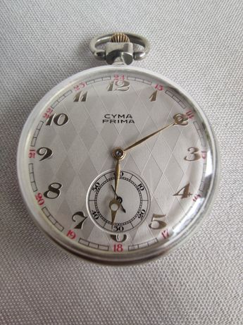 B/ładny zegarek kieszonkowy Cyma Prima Art Deco.