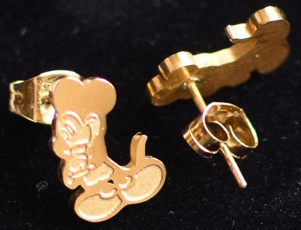 Kolczyki myszka Miki, metalowe, kolor złoty
