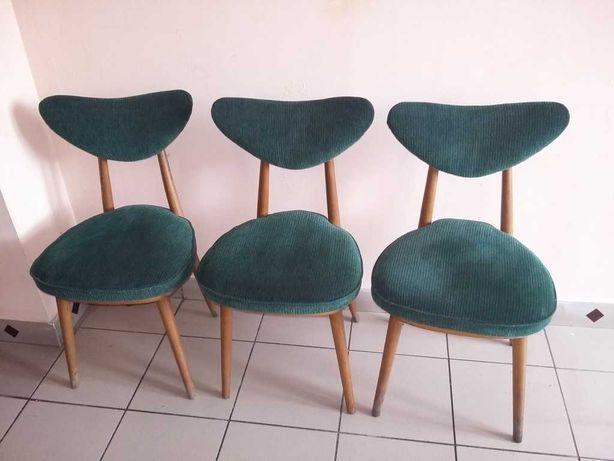 Krzesło PRL Serduszko, 124 Kurmanowicz 1959 rok, komplet 3 sztuki