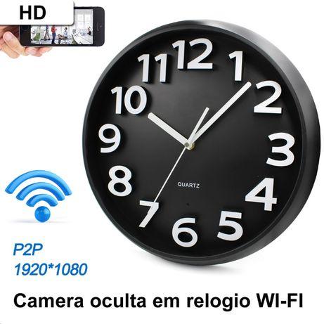 relogio parede camera oculta Wi-fi wi-fi sem fios HD telemovel APP p2p