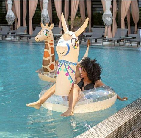 Koło materac do pływania basen plaża lato lama alpaka brokat 150cm