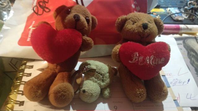 мягкая игрушка мишка сердце брелок германия чепераха набор 3шт