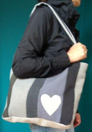 Shopperka torba serca mieści A4 hand made