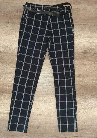 Granatowe spodnie w kratkę z paskiem z wysokim stanem Nowe bez metki L