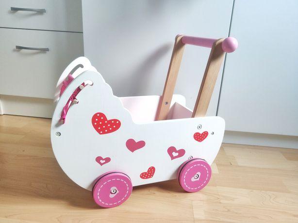 Wózek drewniany dla lalek, pchacz