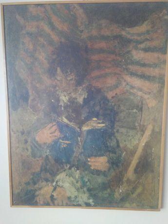 """Obraz E. Eibisch """" Dziewczynka z niebieską książką """"  PRL"""