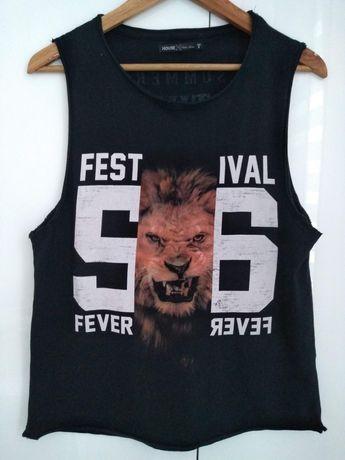 Czarny top festival fever House lew lion bluzka koszulka
