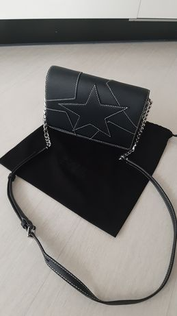 Karl Lagerfeld kors guess czarna torebka srebrny łańcuszek skóra
