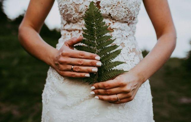 Suknia ślubna koronkowa ecru lekka, zwiewna + 3 metrowy welon ślub